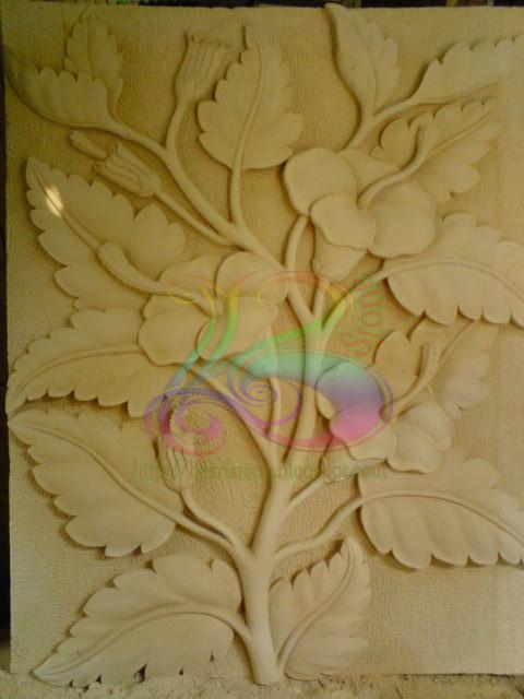 Relief bunga sepatu kerajinan batu alam
