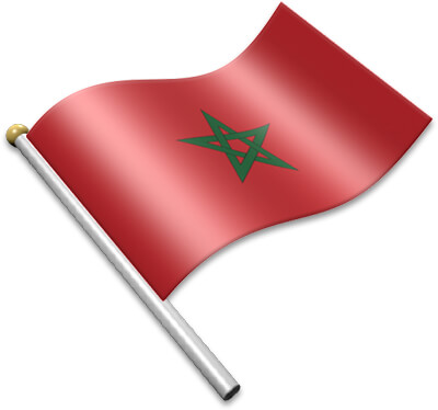 The Moroccan flag on a flagpole clipart image