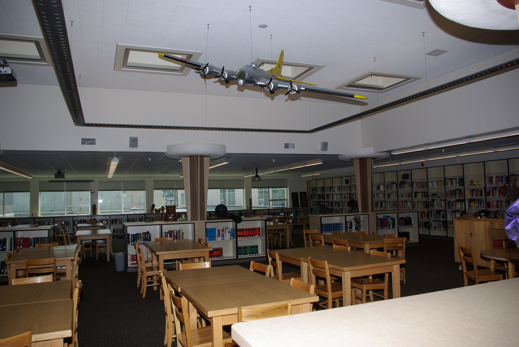 Library at Richland High School, with model of the original Bomber
