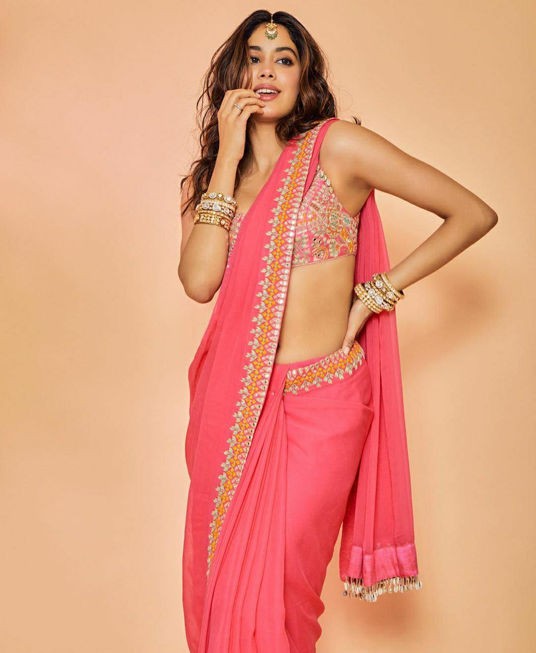 Jhanvi Kapoor in Sizzling Red Bridal Saree
