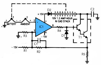 thermal controlled battery charger schematic circuit