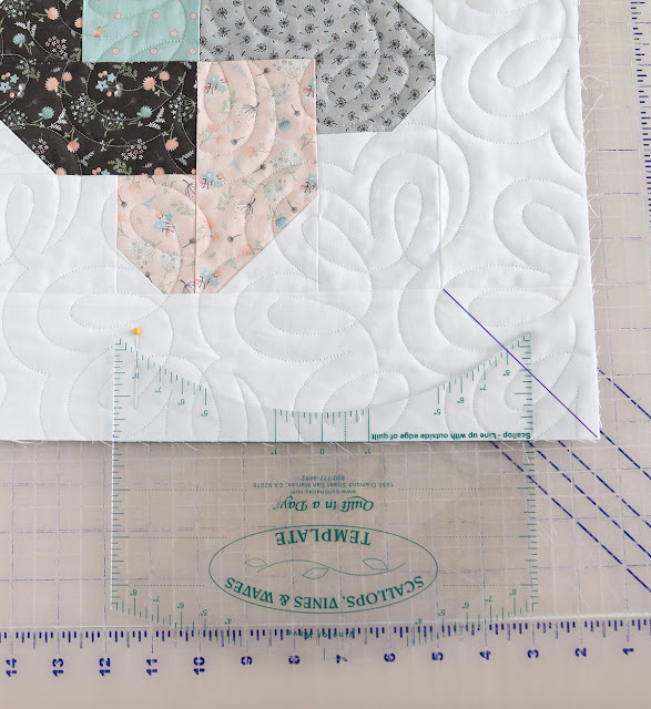 Tutorial for using the Scallops, Vines and Waves template from Quilt In A Day - A Bright Corner shows how to use the ruler to make a scalloped edge on a quilt