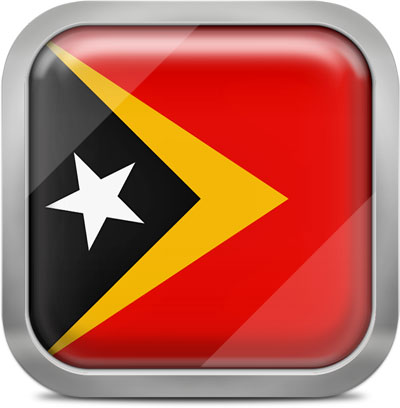 East Timor square flag with metallic frame