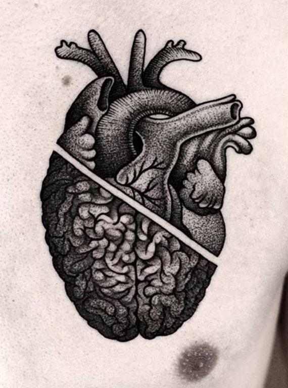 Este dotwork coração/cérebro