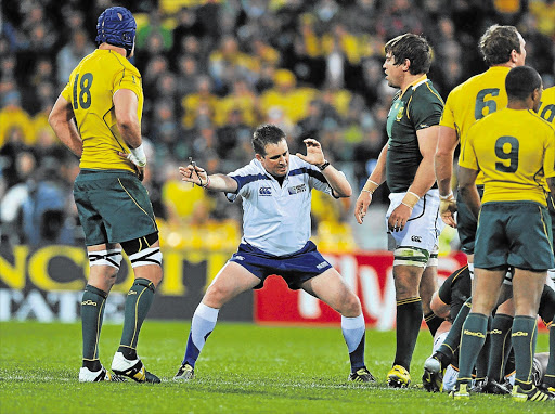 Referee Bryce Lawrence during Sunday's World Cup quarterfinal between the Boks and Wallabies. He has been accused of 'making a hash' of the game and turning the breakdown into a shambles Picture: DUIF DU TOIT/GALLO IMAGES