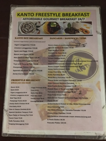 Kanto Freestyle Breakfast menu
