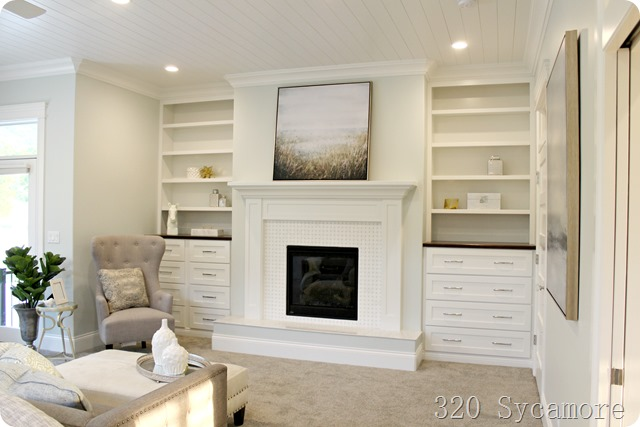 master bedroom fireplace built ins