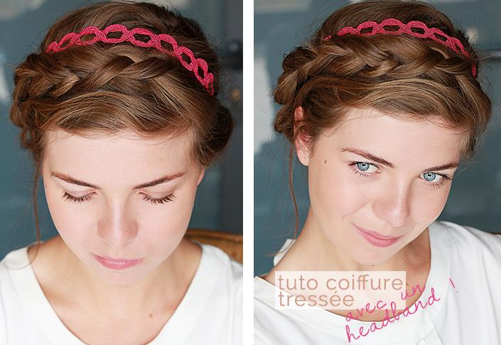 coiffure romantique avec un headband, comment porter un headband flashy, coiffure couronne de tresse, tutoriel tresse collée et serre tête, tuto coiffure en images