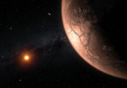ilustração do sistema planetário TRAPPIST-1