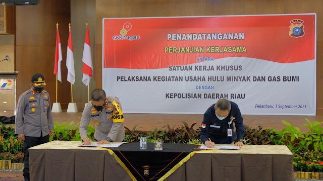 Menandatangani MoU dengan SKK Migas, Kapolda Riau berkomitmen untuk kelola keamanan yang baik
