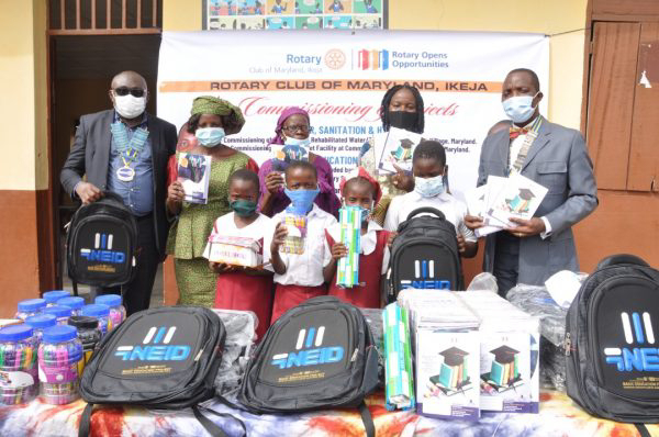 Rotary Club Of Maryland Commissions Borehole Water, Toilet Facilities, Other Projects – Donates School Kits To School