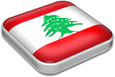 Flag of Lebanon with metallic square frame