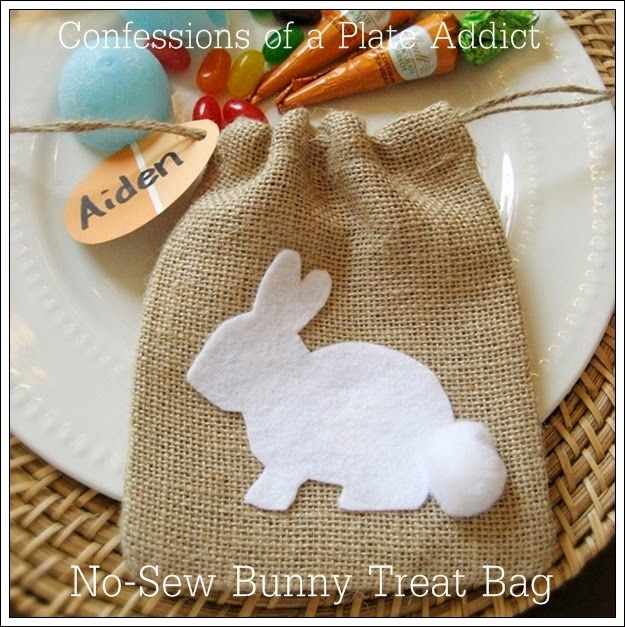 CONFESSIONS OF A PLATE ADDICT No-Sew Burlap Bunny Treat Bag