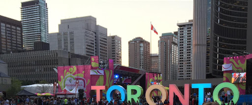 Toronto sign from the 2015 Pan Am Games. From Travel Writers' Secrets: Top Toronto Travel Tips