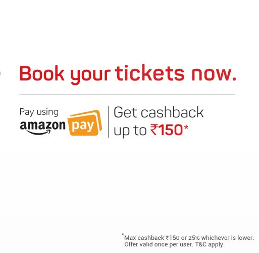 BookMyShow - 25% Cashback Upto Rs.150 On Booking Tickets via Amazon Pay