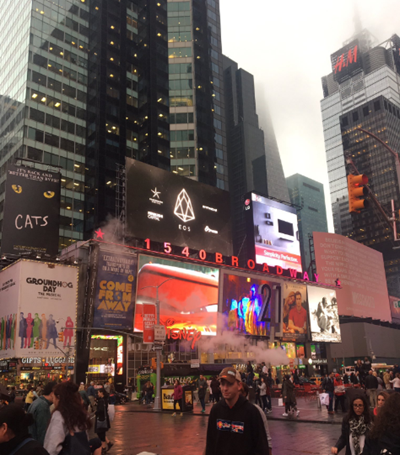 The advert for EOS in Times Square, New York City, on May 23, 2017
