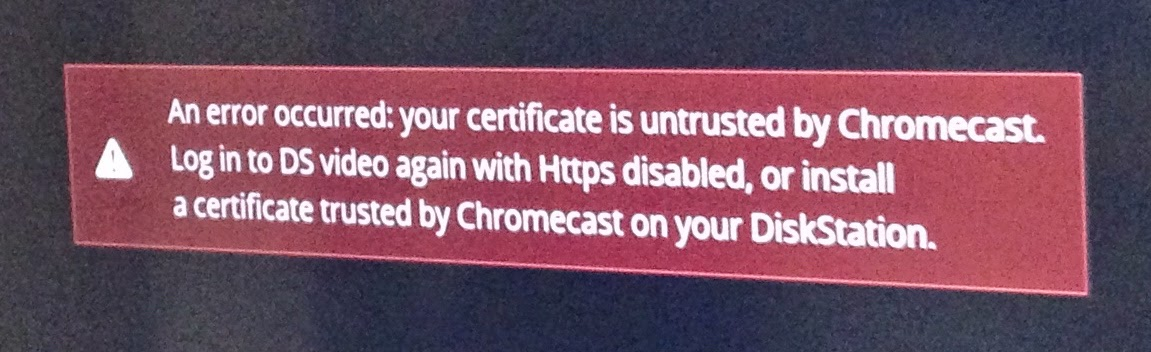 An error occurred: your certificate is untrusted by