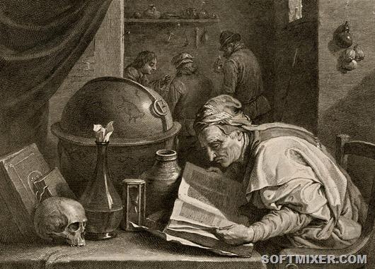 Dochtor-alchymista-David-Teniers-1690-engraved-Jacques-Nicolas-Tardieu-kolem-1700