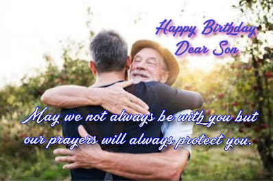 Old father embracing his son, Happy birthday wishes for kids.