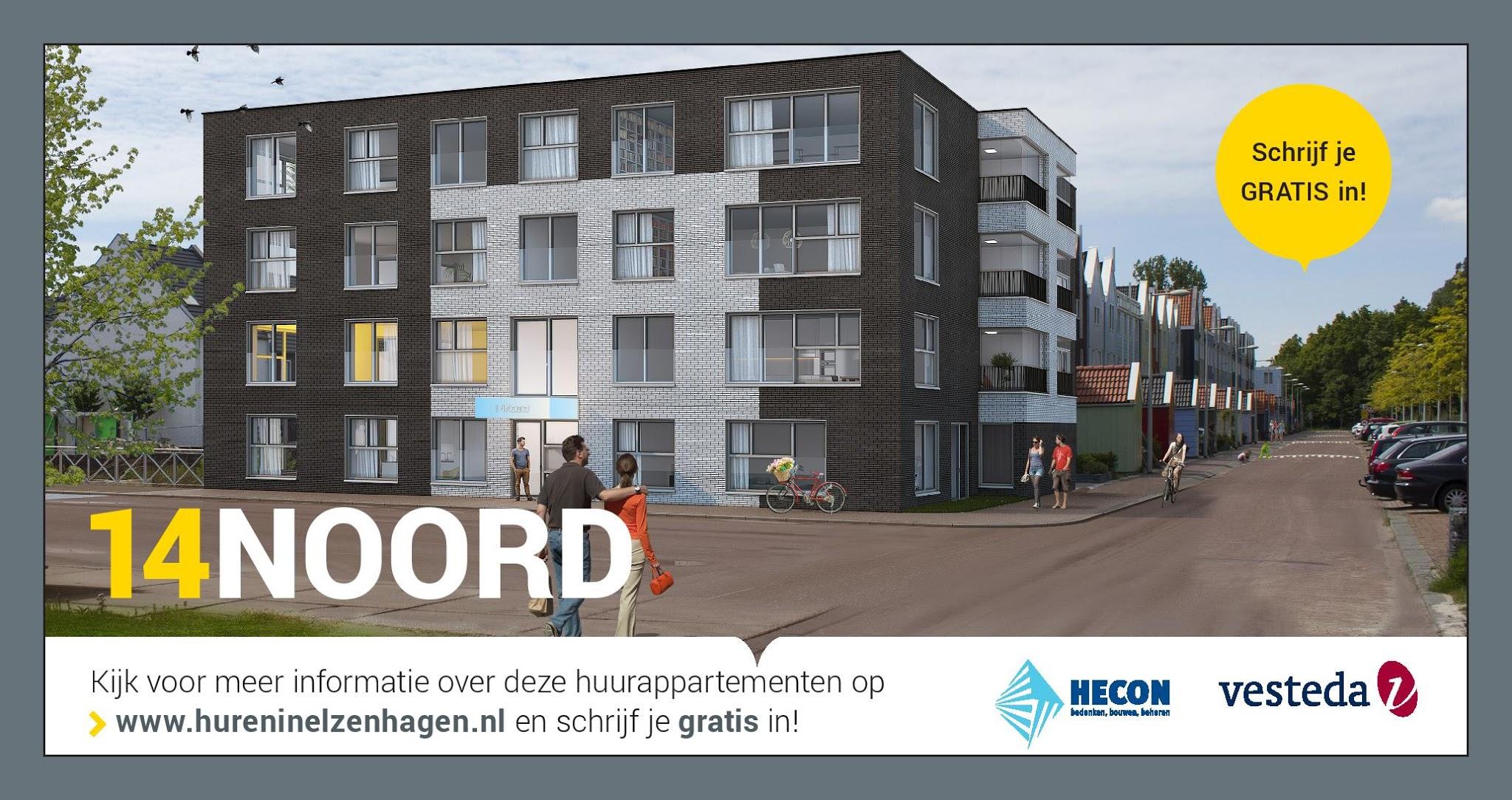 Ontwerp bouwhekdoek project '14Noord' voor Vesteda. Door: www.zuurstof.nl