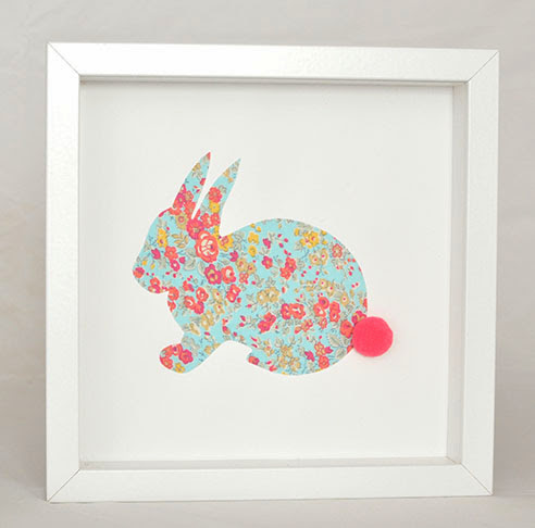 Grand cadre papillons Lapin turquoise Mille Coquelicots