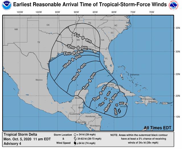 Hurricane Delta Landfall time NOAA