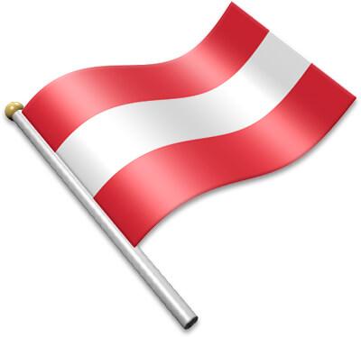 The Austrian flag on a flagpole clipart image