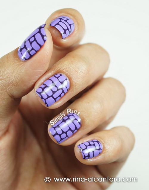 Purple Bricks Nail Art Design