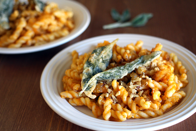 Butternut Squash Pasta with Batter Fried Sage Leaves from dontmissdairy.com