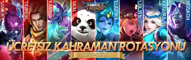Mobile Legends Bang Bang 9 Haziran 15 Haziran Ücretsiz Kahramanlar