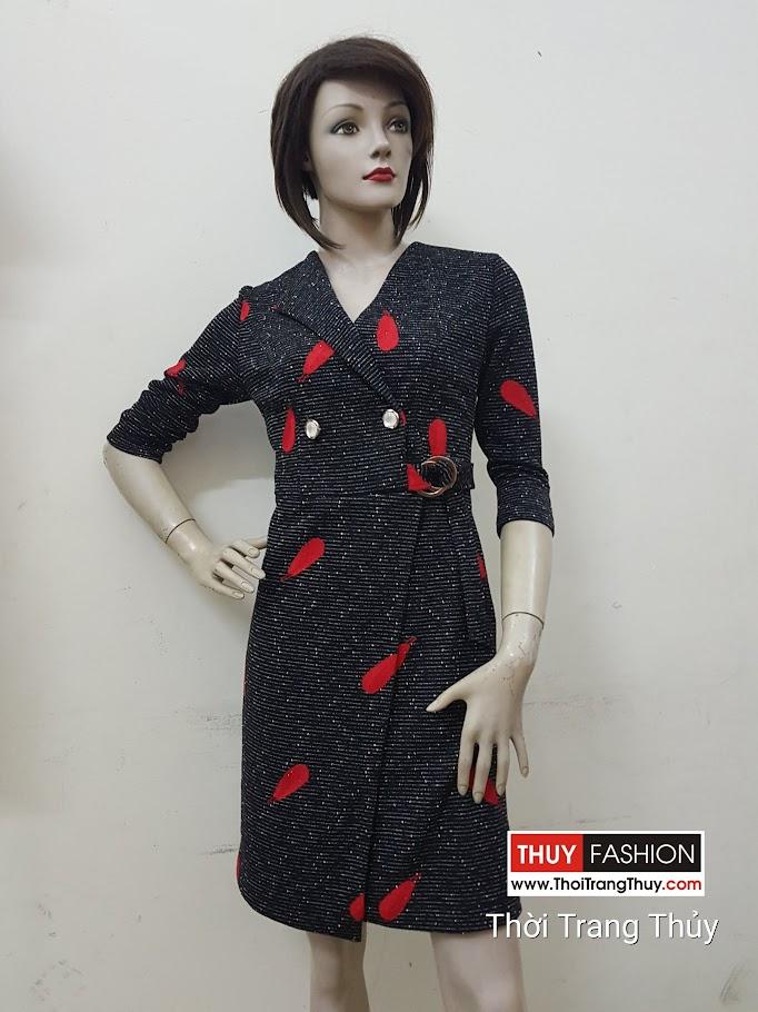 Váy công sở thu đông cổ vạt chéo lệch hông V486 Thời Trang Thủy