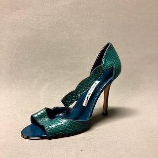 Manolo Blahnik Teal Snakeskin Sandals