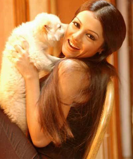 Celina Jaitley and a dog