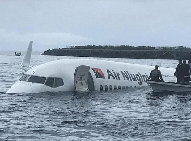 Plane Overshoots A Runway And Crash Lands In The Ocean (See Photos)