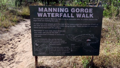 Manning Gorge Waterfall Walk Sign