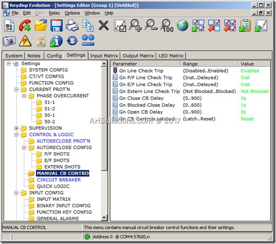 Reyrolle Argus 7SR1 - Setting CB Manual Control