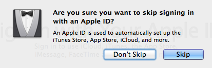 Skip setup Apple ID