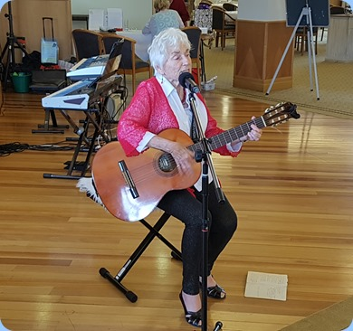 Audrey Henden sang Christmas songs for us and accompanied herself on guitar.