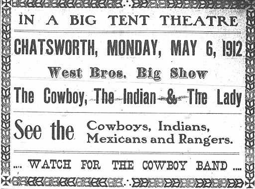 West Bros. Big Show came to town on May 6, 1912