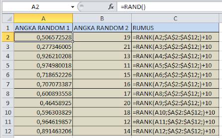 Membuat Angka Random Tidak Kembar Pada Excel