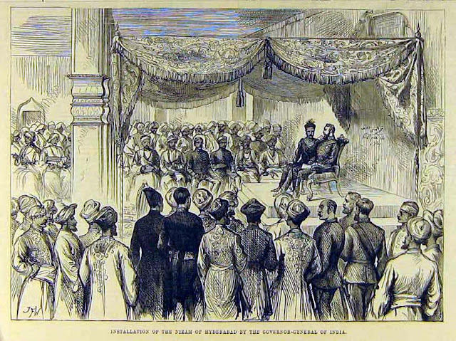 """Installation of the Nizam of Hyderabad by the Governor-General of India,"" from the Illustrated London News, 1884"