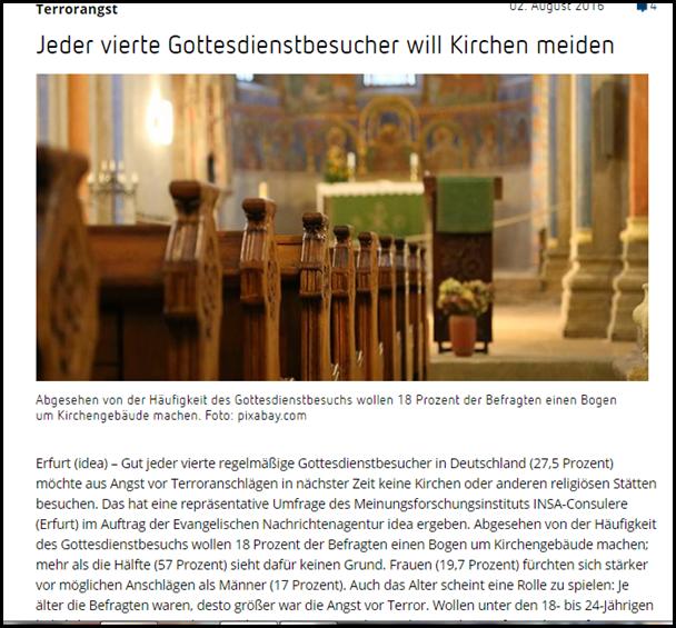 Terrorangst bei Kirchenbesuch