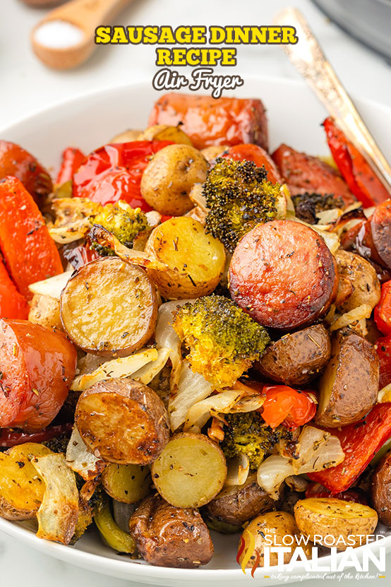 Sausage Dinner Recipe (Air Fryer) on a plate