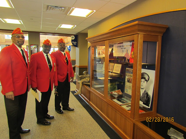 February 2016: First African American Marines at their Library exhibit case display.