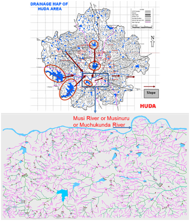 Source: Adapted from HUDA Maps 2001 and KK Hyma Sudha Thesis on, 'Urban lake Management: a case study of Hyderabad lakes' (CEPT University Ahmedabad, 2003-04)