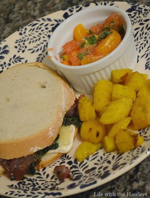 Caramelized onion, kale & brie sandwiches, with a three-citrus mint salad, with roasted golden beets-2