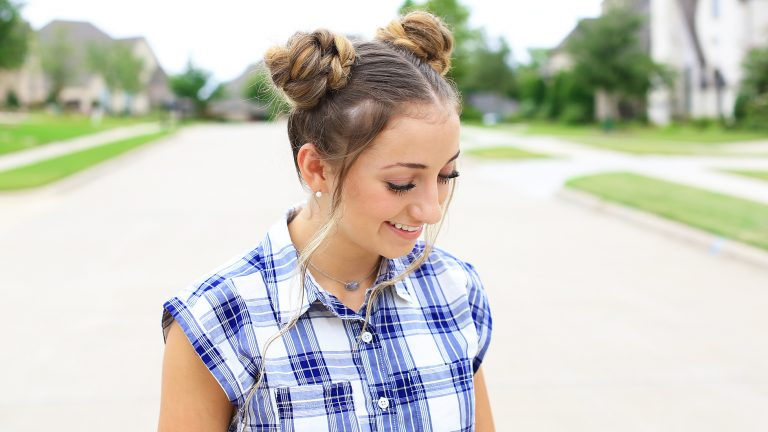 DOUBLE BRAIDED BUNS FOR ATTRACTIVE LADY IN THIS SUMMER 1