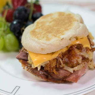 Cheesy Hash Brown and Ham Sandwich