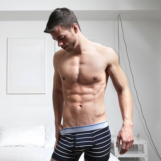 Sexy Guy in Stripe Boxer Briefs