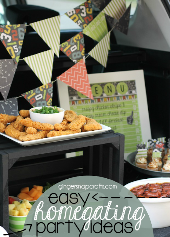 Homegate party ideas at GingerSnapCrafts.com #homegating #football